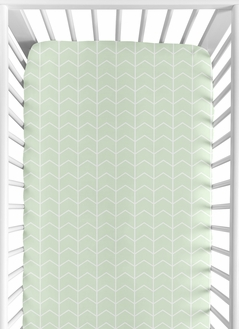 Mint and White Chevron Arrow Baby or Toddler Fitted Crib Sheet for Watercolor Elephant Safari Collection by Sweet Jojo Designs