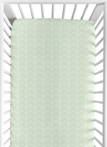Mint and White Chevron Arrow Baby or Toddler Fitted Crib Sheet for Watercolor Elephant Safari Collection by Sweet Jojo Designs - Click to enlarge