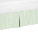 Mint and White Chevron Arrow Pleated Toddler Bed Skirt Dust Ruffle for Watercolor Elephant Safari Collection by Sweet Jojo Designs