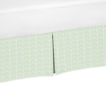 Mint and White Chevron Arrow Pleated Twin Bed Skirt Dust Ruffle for Watercolor Elephant Safari Collection by Sweet Jojo Designs