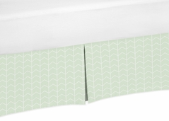 Mint and White Chevron Arrow Unisex Pleated Baby Crib Bed Skirt Dust Ruffle for Watercolor Elephant Safari Collection by Sweet Jojo Designs