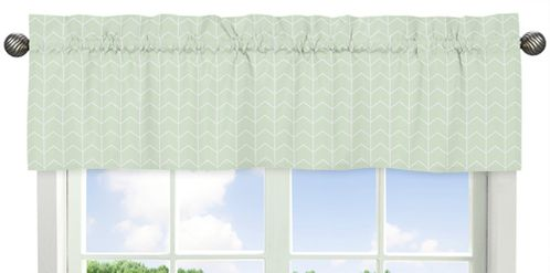 Mint and White Chevron Arrow Window Treatment Valance for Watercolor Elephant Safari Collection by Sweet Jojo Designs - Click to enlarge