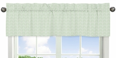 Mint and White Chevron Arrow Window Treatment Valance for Watercolor Elephant Safari Collection by Sweet Jojo Designs