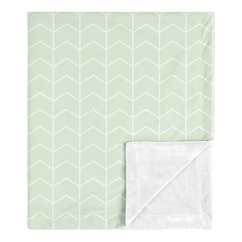 Mint Chevron Arrow Baby Boy or Girl Blanket Receiving Security Swaddle for Newborn or Toddler Nursery Car Seat Stroller Soft Minky by Sweet Jojo Designs - Green and White for the Watercolor Elephant Safari Collection Gender Neutral - Click to enlarge