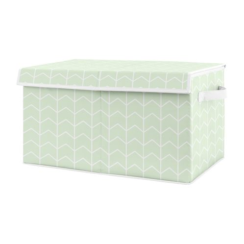 Mint Chevron Arrow Boy or Girl Small Fabric Toy Bin Storage Box Chest For Baby Nursery or Kids Room by Sweet Jojo Designs - Gender Neutral Green and White for the Watercolor Elephant Safari Collection - Click to enlarge