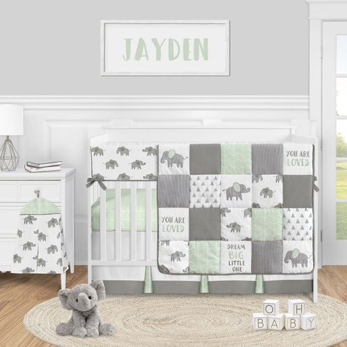 Mint Elephant Safari Baby Boy Girl Nursery Crib Bedding Set by Sweet Jojo Designs - 5 pieces - Green Grey and White Watercolor Animal - Click to enlarge