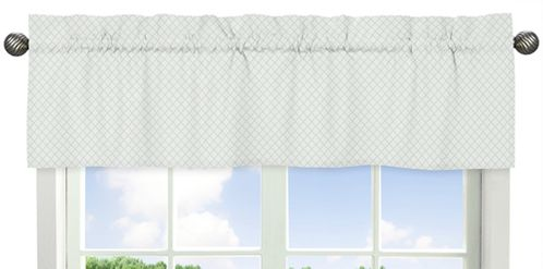 Mint Green and White Lattice Window Treatment Valance for Woodland Deer Floral Collection by Sweet Jojo Designs - Click to enlarge