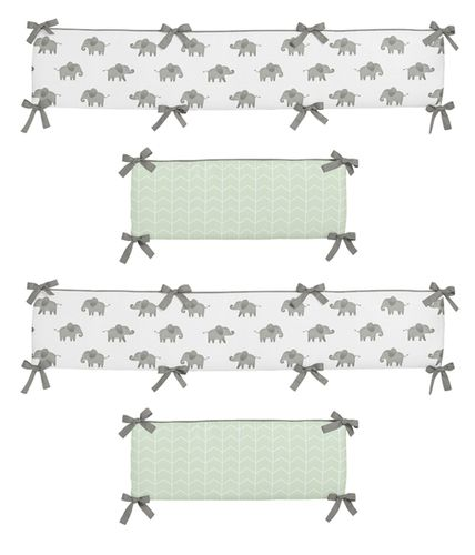 Mint, Grey and White Baby Crib Bumper Pad for Watercolor Elephant Safari Collection by Sweet Jojo Designs - Click to enlarge