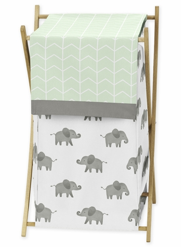 Mint, Grey and White Baby Kid Clothes Laundry Hamper for Watercolor Elephant Safari Collection by Sweet Jojo Designs - Click to enlarge