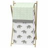 Mint, Grey and White Baby Kid Clothes Laundry Hamper for Watercolor Elephant Safari Collection by Sweet Jojo Designs