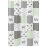 Mint, Grey and White Bathroom Fabric Bath Shower Curtain for Watercolor Elephant Safari Collection by Sweet Jojo Designs