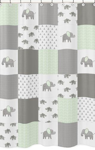Mint, Grey and White Bathroom Fabric Bath Shower Curtain for Watercolor Elephant Safari Collection by Sweet Jojo Designs - Click to enlarge