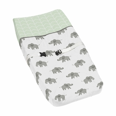 Mint, Grey and White Changing Pad Cover for Watercolor Elephant Safari Collection by Sweet Jojo Designs