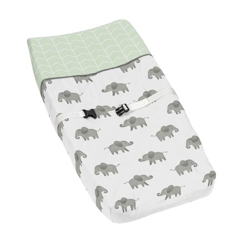Mint, Grey and White Changing Pad Cover for Watercolor Elephant Safari Collection by Sweet Jojo Designs - Click to enlarge