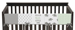 Mint, Grey and White Long Front Crib Rail Guard Baby Teething Cover Protector Wrap for Watercolor Elephant Safari Collection by Sweet Jojo Designs
