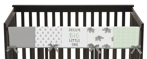 Mint, Grey and White Long Front Crib Rail Guard Baby Teething Cover Protector Wrap for Watercolor Elephant Safari Collection by Sweet Jojo Designs - Click to enlarge