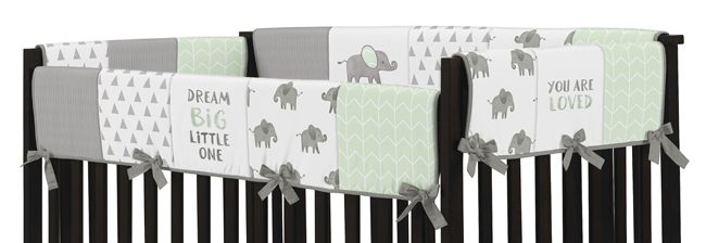 Sweet Jojo Designs Mint Grey and White Long Front Crib Rail Guard Baby Teething Cover Protector Wrap for Watercolor Elephant Safari Collection
