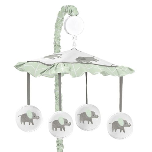 Mint, Grey and White Musical Baby Crib Mobile for Watercolor Elephant Safari Collection by Sweet Jojo Designs - Click to enlarge
