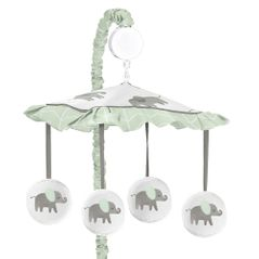 Mint, Grey and White Musical Baby Crib Mobile for Watercolor Elephant Safari Collection by Sweet Jojo Designs