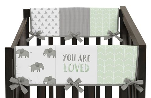 Mint, Grey and White Side Crib Rail Guards Baby Teething Cover Protector Wrap for Watercolor Elephant Safari Collection by Sweet Jojo Designs - Set of 2 - Click to enlarge