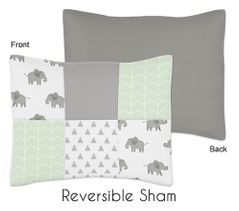 Mint, Grey and White Standard Pillow Sham for Watercolor Elephant Safari Collection by Sweet Jojo Designs