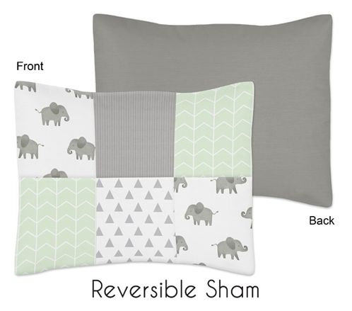 Mint, Grey and White Standard Pillow Sham for Watercolor Elephant Safari Collection by Sweet Jojo Designs - Click to enlarge