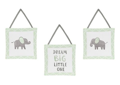 Mint, Grey and White Wall Hanging Decor for Watercolor Elephant Safari Collection by Sweet Jojo Designs - Set of 3 - Click to enlarge