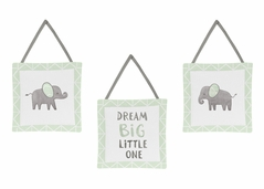 Mint, Grey and White Wall Hanging Decor for Watercolor Elephant Safari Collection by Sweet Jojo Designs - Set of 3