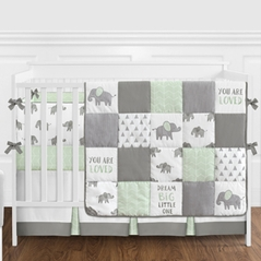 Mint, Grey and White Watercolor Elephant Safari Baby Unisex Crib Bedding Set with Bumper by Sweet Jojo Designs - 9 pieces