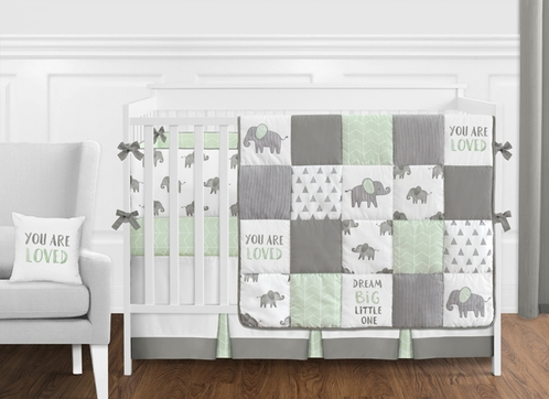 Mint, Grey and White Watercolor Elephant Safari Baby Unisex Crib Bedding Set with Bumper by Sweet Jojo Designs - 9 pieces - Click to enlarge