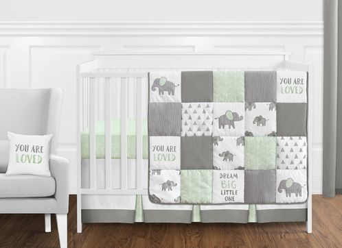 Mint, Grey and White Watercolor Elephant Safari Baby Unisex Crib Bedding Set without Bumper by Sweet Jojo Designs - 11 pieces - Click to enlarge