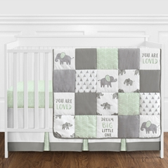 Mint, Grey and White Watercolor Elephant Safari Baby Unisex Crib Bedding Set without Bumper by Sweet Jojo Designs - 4 pieces