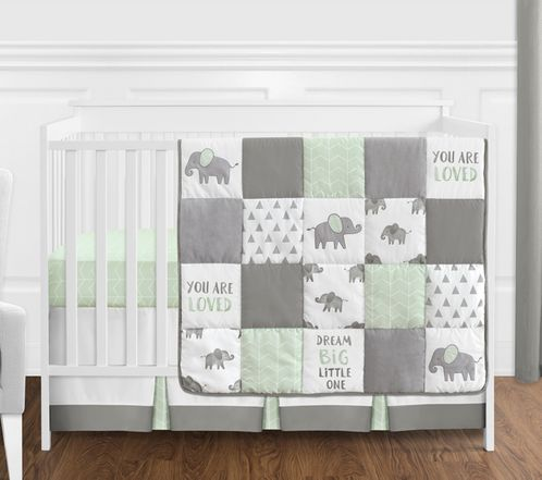 Mint, Grey and White Watercolor Elephant Safari Baby Unisex Crib Bedding Set without Bumper by Sweet Jojo Designs - 4 pieces - Click to enlarge