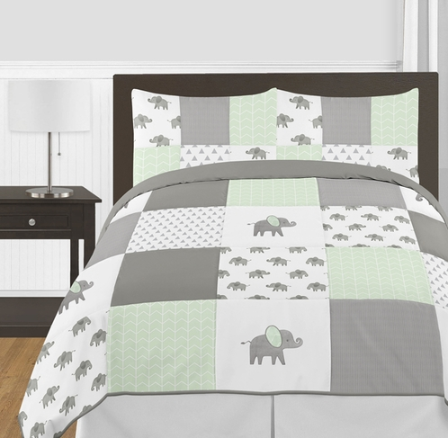 Mint, Grey and White Watercolor Elephant Safari Unisex Full / Queen Kid Childrens Bedding Comforter Set by Sweet Jojo Designs - 3 pieces - Click to enlarge