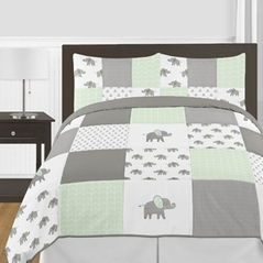 Mint, Grey and White Watercolor Elephant Safari Unisex Full / Queen Kid Childrens Bedding Comforter Set by Sweet Jojo Designs - 3 pieces