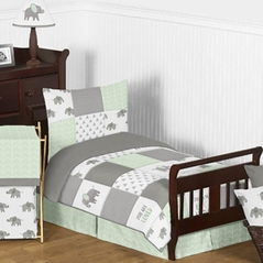 Mint, Grey and White Watercolor Elephant Safari Unisex Toddler Kid Childrens Bedding Set by Sweet Jojo Designs - 5 pieces Comforter, Sham and Sheets