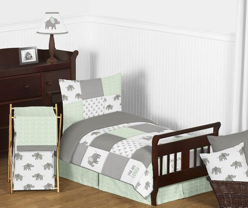 Mint, Grey and White Watercolor Elephant Safari Unisex Toddler Kid Childrens Bedding Set by Sweet Jojo Designs - 5 pieces Comforter, Sham and Sheets - Click to enlarge