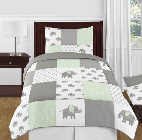 Mint, Grey and White Watercolor Elephant Safari Unisex Twin Kid Childrens Bedding Comforter Set by Sweet Jojo Designs - 4 pieces - Click to enlarge