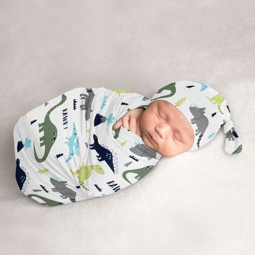 Mod Dino Baby Boy Cocoon and Beanie Hat 2pc Set Jersey Stretch Knit Sleeping Bag for Infant Newborn Nursery Sleep Wrap Sack by Sweet Jojo Designs - Blue, Green and Grey Modern Dinosaur - Click to enlarge
