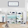 Mod Dinosaur Baby Boy Nursery Crib Bedding Set by Sweet Jojo Designs - 5 pieces - Blue Green and Grey Modern Dino