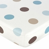 Mod Dots Blue and Brown Fitted Crib Sheet for Baby and Toddler Bedding Sets by Sweet Jojo Designs - Large Dot