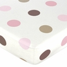 Mod Dots Pink and Brown Fitted Crib Sheet for Baby and Toddler Bedding Sets by Sweet Jojo Designs - Large Dot