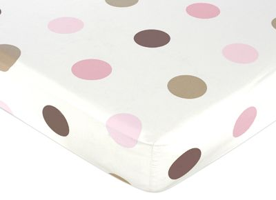 Mod Dots Pink and Brown Fitted Crib Sheet for Baby and Toddler Bedding Sets by Sweet Jojo Designs - Large Dot - Click to enlarge