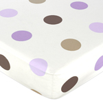 Mod Dots Purple and Brown Fitted Crib Sheet for Baby and Toddler Bedding Sets by Sweet Jojo Designs - Large Dot