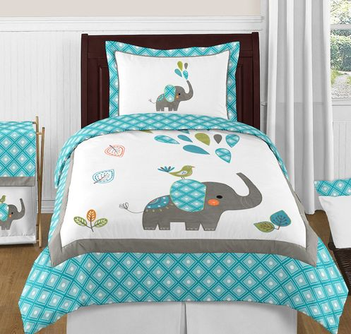 Mod Elephant 4pc Twin Bedding Set by Sweet Jojo Designs - Click to enlarge