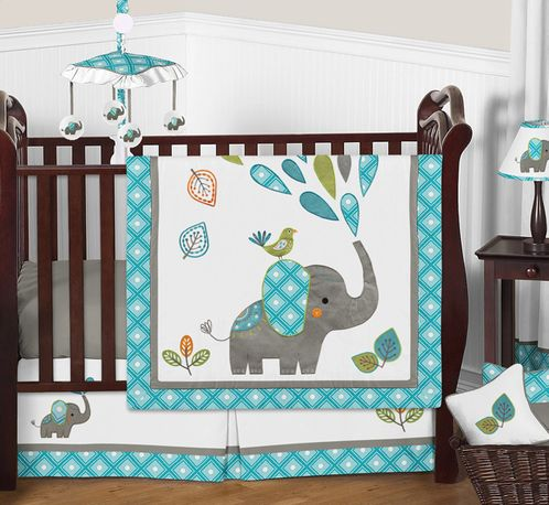 Mod Elephant Baby Bedding - 11pc Crib Set by Sweet Jojo Designs - Click to enlarge