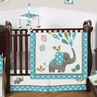 Safari Mod Elephant Baby Boy or Girl Nursery Crib Bedding Set by Sweet Jojo Designs - 4 pieces - Turquoise Blue, Green, and Grey Modern Gender Neutral