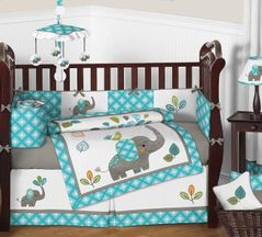 Mod Elephant Baby Bedding - 9pc Crib Set by Sweet Jojo Designs