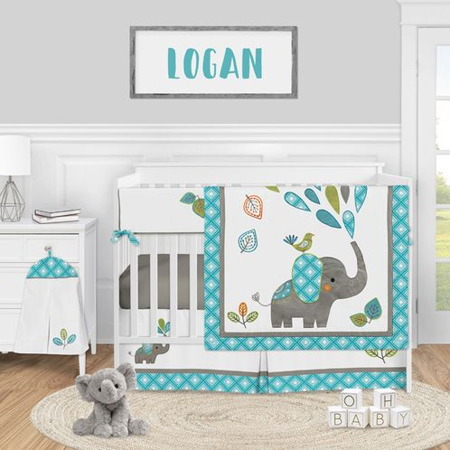 Mod Elephant Baby Boy or Girl Nursery Crib Bedding Set by Sweet Jojo Designs - 5 pieces - Turquoise Blue, Green, and Grey Safari Animal - Click to enlarge