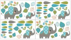 Turquoise Blue and Grey Mod Elephant Peel and Stick Wall Decal Stickers Art Nursery Decor by Sweet Jojo Designs - Set of 4 Sheets